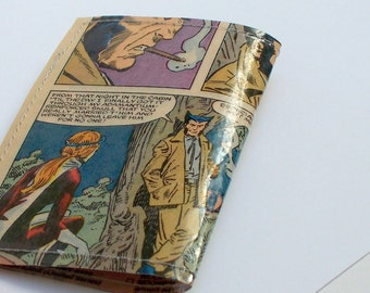 Comic mini wallet UPCYCLED Vintage Wolverine Comic book page RECYCLED into gift card holder business card holder