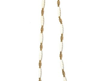 The Retro Beige Gold Plated Beaded Long Necklace
