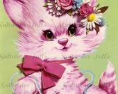 Vintage Big Eyed Pink Kitten Image Digital Download vintage invitation cat kitty diy birthday invite card 1970s flowers retro large transfer