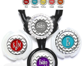 Gray Chevron Littmann Stethoscope Tag - Personalized Nurse Stethoscope ID in 11 Colors with Name, Monogram, Initial, Occupation Titie (A005)