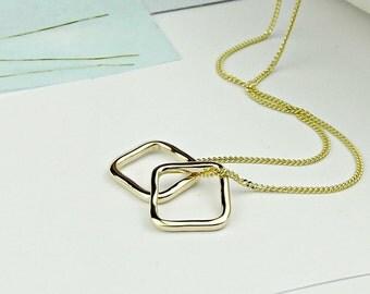 Solid Gold Necklace-18ct gold necklace-gold necklace-solid gold necklace-simple gold necklace-18k gold necklace-uk-geometric necklace-square