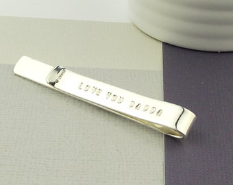 Secret Message Tie Clip - Silver - Sterling silver -tie bar- tie slide-groom gift-daddy gift-father's day gift-wedding gift-anniversary gift