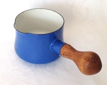 Blue Enamel Dansk Sauce Pot Wood Handle Kobenstyle
