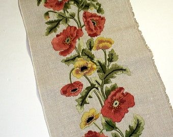 """Crewel Embroidery Poppy Bell Pull, Floral Bellpull, Completed Stitching, Orange Poppy Flowers, 26"""" Length, Summer Garden, Erica Wilson"""
