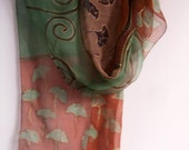 Hand painted Silk Scarf Ginkgo leaves. Pastel silk chiffon scarf Maroon Green scarf decorative// Art Deco Shawl Scarf Klimt inspired scarf