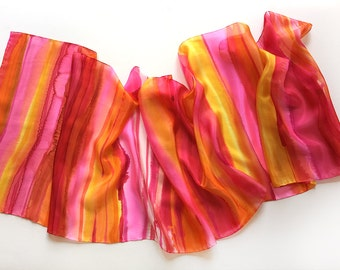 Stripes scarf/ Hand painted silk scarf/ Bright summer scarves/ Neon pink orange shawl painted/ Luxury scarves/ Scarf shawl Birthday gift her