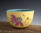Pottery Bowl with Echinacea and Ladybug in Yellow and Turquoise - Trust Bowl - by DirtKicker Pottery