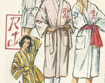Vintage 50s McCalls 2334 Mens and Womens Monogrammed Robe Sewing Pattern