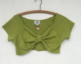 Vintage 90s Chartreuse Crop Top YES Clothing New with tags
