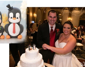 Unique Penguin wedding cake toppers - small size - cute personalized custom funny elegant wedding gift bride groom mr mrs initials names