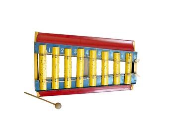 Vintage Tin Toy Xylophone Southwestern Decal Wall Decor