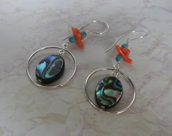Silver Abalone Earrings with Coral & Turquoise Accents