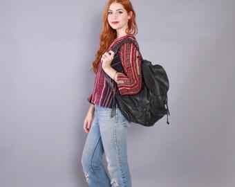 Vintage LEATHER BACKPACK / 1990s Soft Black Leather Overnight Daypack School Bag