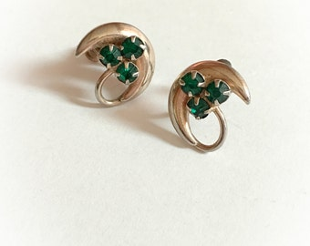 Vintage Crescent Moon and Green Rhinestone Earrings Gold Tone Metal Screw Backs
