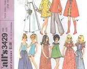 McCalls 3429 1970s Barbie Clothes Vintage Sewing Pattern Teen Doll Fashion Trousseau