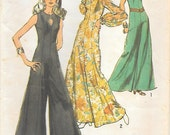 Simplicity 9451 1970s Princess Seamed Jumpsuit with Diamond Cut Out Vintage Sewing Pattern Size 10 Bust 32 Sleeveless