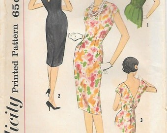 Simplicity 3820 UNCUT 1960s Deep V Back Wiggle Dress Vintage Sewing Pattern Size 16 Bust 36 and Junior 11 Mad Men