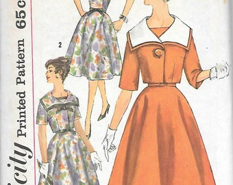 Simplicity 3830 UNCUT 1960 Square Neck Dress with Boxy Jacket Vintage Sewing Pattern Bust 32 or 34