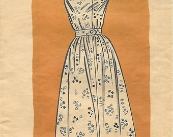 Marian Martin 9104 1950s Charming Sundress Vintage Sewing Pattern Size 14 Bust 34 Rockabilly