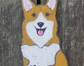 No Soliciting Sign Corgi Dog - Hand-Painted Wood