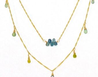 Blue Green Sapphire Briolette Layered Necklace on 14KT Gold Chain, Blue Green Sapphire, Minimalist Necklace, Valentine, September Birthstone