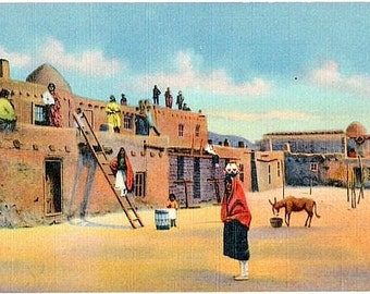 Vintage New Mexico Postcard - Tesuque Pueblo (Unused)