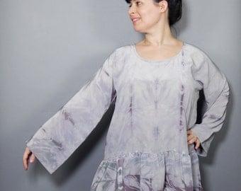 Gray Shibori Silk Peplum Tunic Top