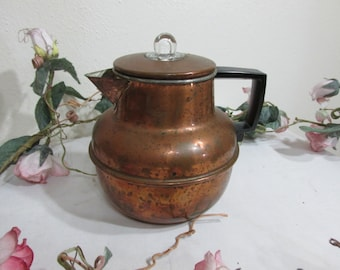 Copper Teapot 4 Cup  with Aluminum Basket and Stem