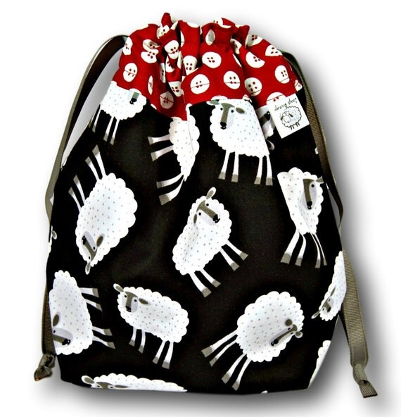 Buttoned Up Sheep - One Skein Project Bag for Knitting or Crochet