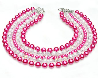 Pearl STATEMENT Necklace Bubble Gum Pink Feminine Sparkle Swarovski Crystals Multi Strand Summer Fashion Classic Couture Style  Mei Faith