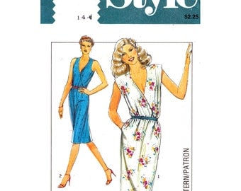 Womens Dress Pattern Style 3038 Bust 36 Cross Over Bodice Dress Cap Sleeves or Sleeveless Dress Pockets 1980s Vintage Sewing Pattern UNCUT