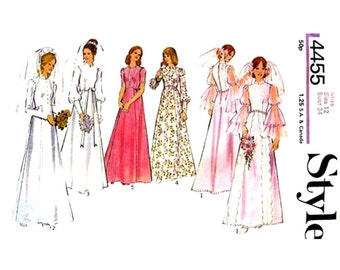 1970s Vintage Wedding Dress Sewing Pattern Style 4455 Flounce Sleeve Bridesmaid Dress Wedding Gown Bust 34 UNCUT