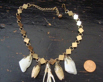 """Vintage Mermaid Shell Charms on Bookchain Necklace 14.5"""""""