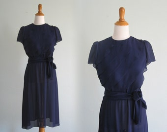 Lovely Sheer Navy Day Dress with Ruffled Top - Vintage 80s does 40s Navy Blue Day Dress with Back Buttons - Vintage 1980s Dress S M