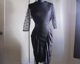 Black Lace and Taffeta 80s Dress