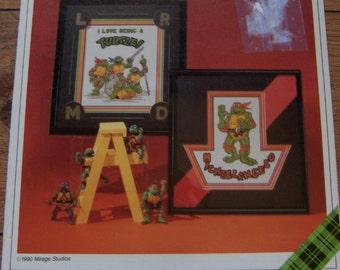 vintage 1990 cross stitch pattern NINJA TURTLES Michaelangelo and I Love Being a Turtle