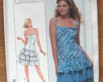vintage 80s simplicity pattern 8547 misses dress tiered ruffled front button bodice princess seaming dropped waistline uncut sz 12-14-16