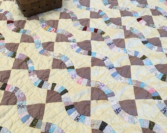 Vintage Snake Trail Quilt - Handmade Hand Quilted from Vintage Fabrics - Soft Cotton - Cottage Country Decor - Collectible Quilt - 78 x 66