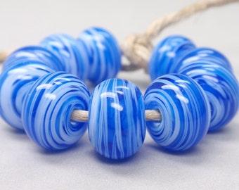 Bigger White Swirls  - 10 Handmade Lampwork Beads SW 210