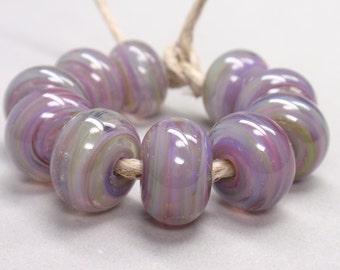 Bigger Song Bird Swirls  - 10 Handmade Lampwork Beads SW 142
