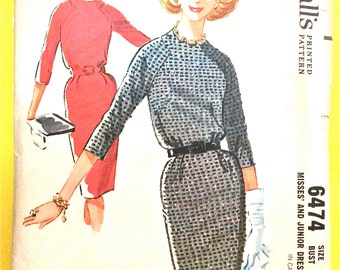 McCall's 6474 Raglan sleeves dress with lightly lined bloused bodice slim three-gore skirt Unique Front Seams Vintage Sewing Pattern Bust 32