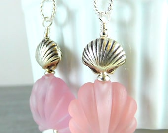 Pink Glass & Sterling Silver Seashell Earrings, Beach Earrings, Ocean Earrings, Lampwork Earrings, Nautical Earrings, Beach Jewelry, Summer