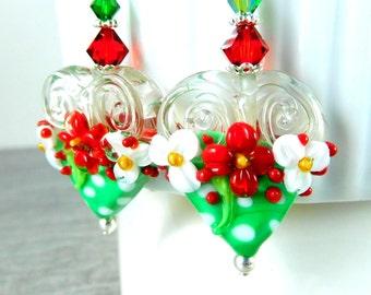 Christmas Polka Dot Heart Earrings, Holiday Jewelry Earrings, Red Green White Floral Earrings, Large Lampwork Statement Earrings, Whimsical