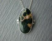 Reserved- Ocean Jasper Pendant, Green and Pink Ocean Jasper, Sterling Silver