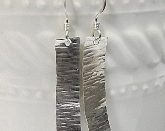 Hammered Silver Rectangle Earrings, Silver Bar Earrings, Hammered Silver Earrings, Modern Hammered Sterling Silver Rectangle Earrings