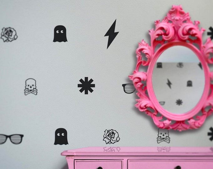 punk polka-dots vinyl wall decal set, polka dots wall decal patterns, skulls, ghosts, roses, wall stickers, FREE SHIPPING
