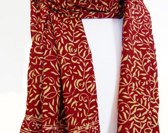 SALE Red Chiffon Scarf Womens  Fashion Accessory Doubles as a Red Sarong Wrap Skirt Super Soft Rayon Chiffon Scarf or Sarong - Gift for Her