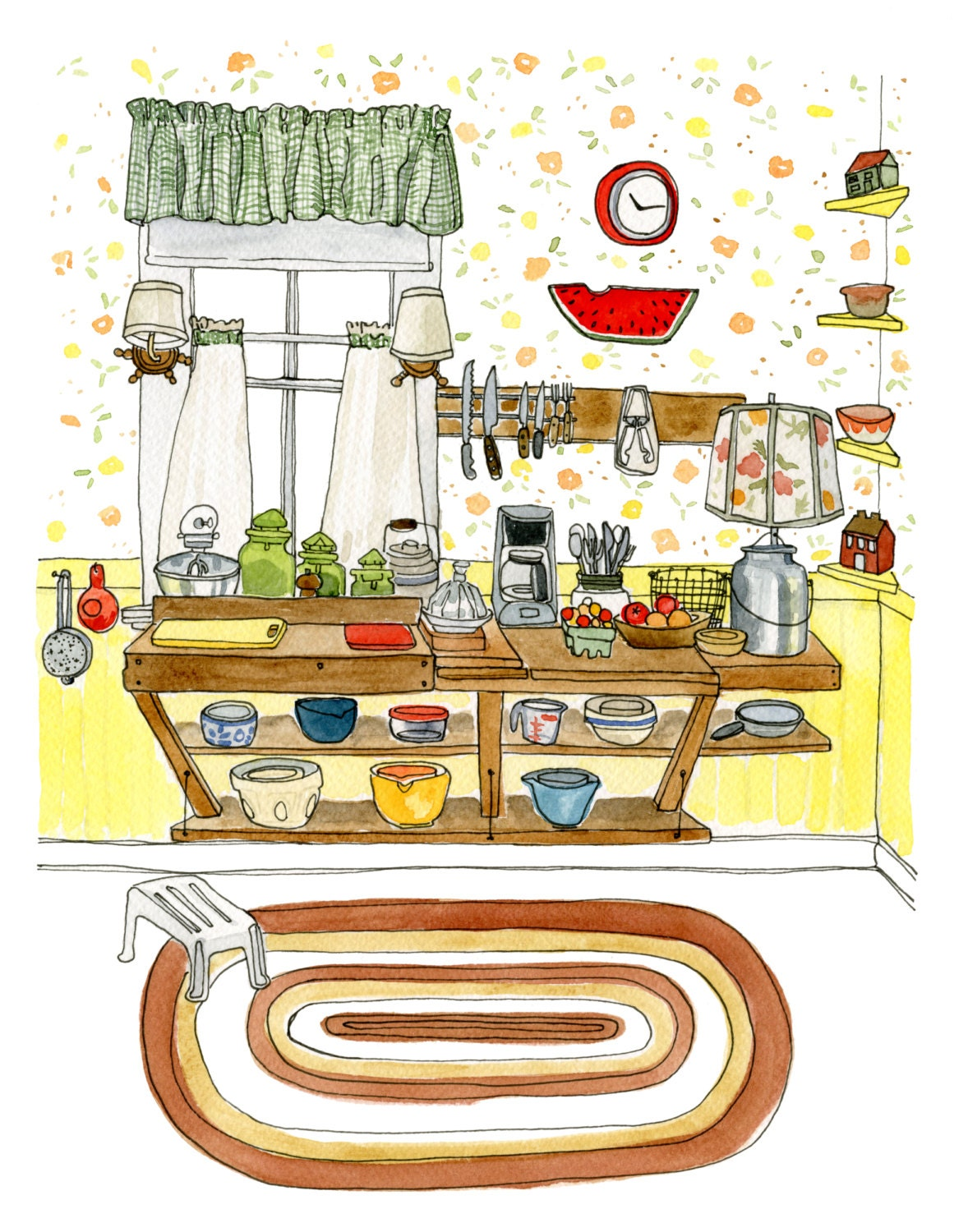 Country Kitchen Gift For Women Archival Print Of Original