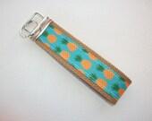 Key FOB / KeyChain / Wristlet  - Pineapples orange, tan, natural or navy  - teacher house warming bridal friend under 10 gift