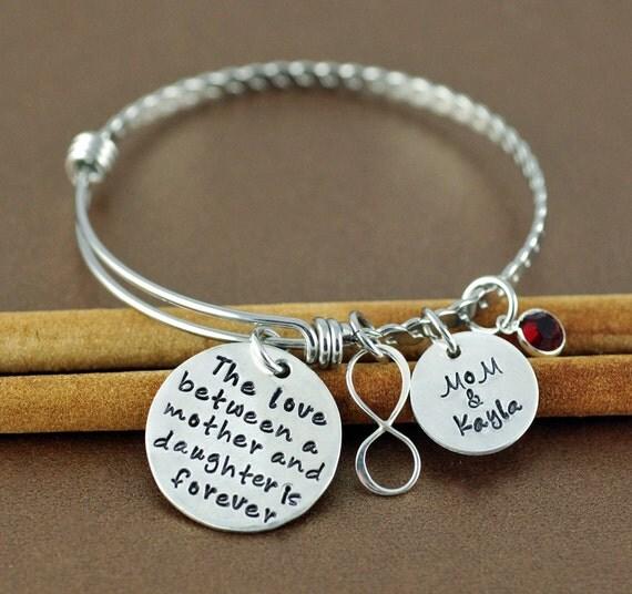 Personalized Hand Stamped Bangle Bracelet, Mother & Daughter Bracelet, Infinity Bangle, Silver Bangle Charm Bracelet